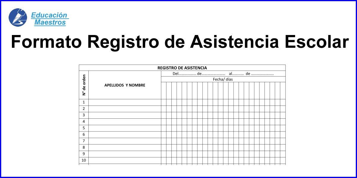 formato de registro de asistencia escolar alumnos educación maestros