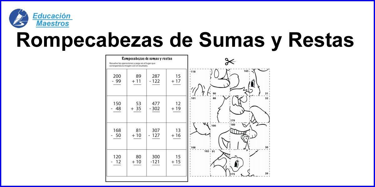 Rompecabezas De Sumas Y Restas Imprimir Pdf