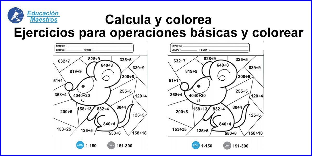 Calcula Y Colorea Imprimir Dibujos Con Operaciones Básicas