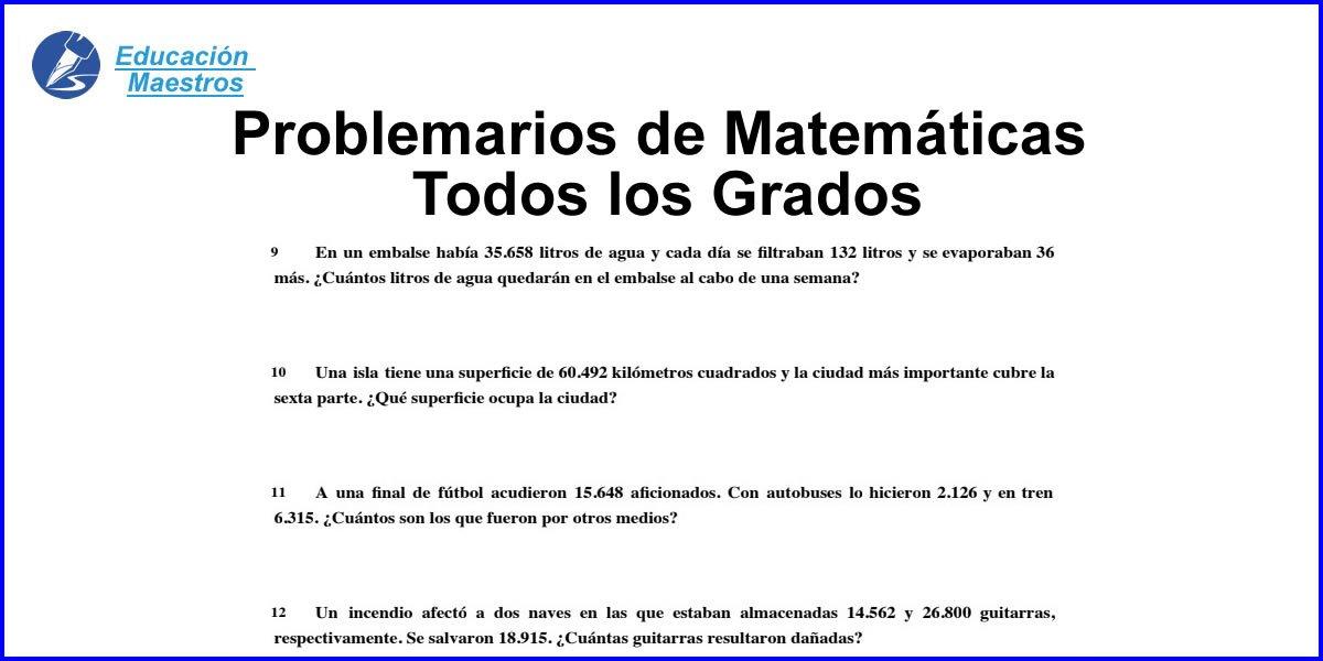Problemas De Matematicas 3ero 4to 5to 6to Grado Para Ninos Primaria