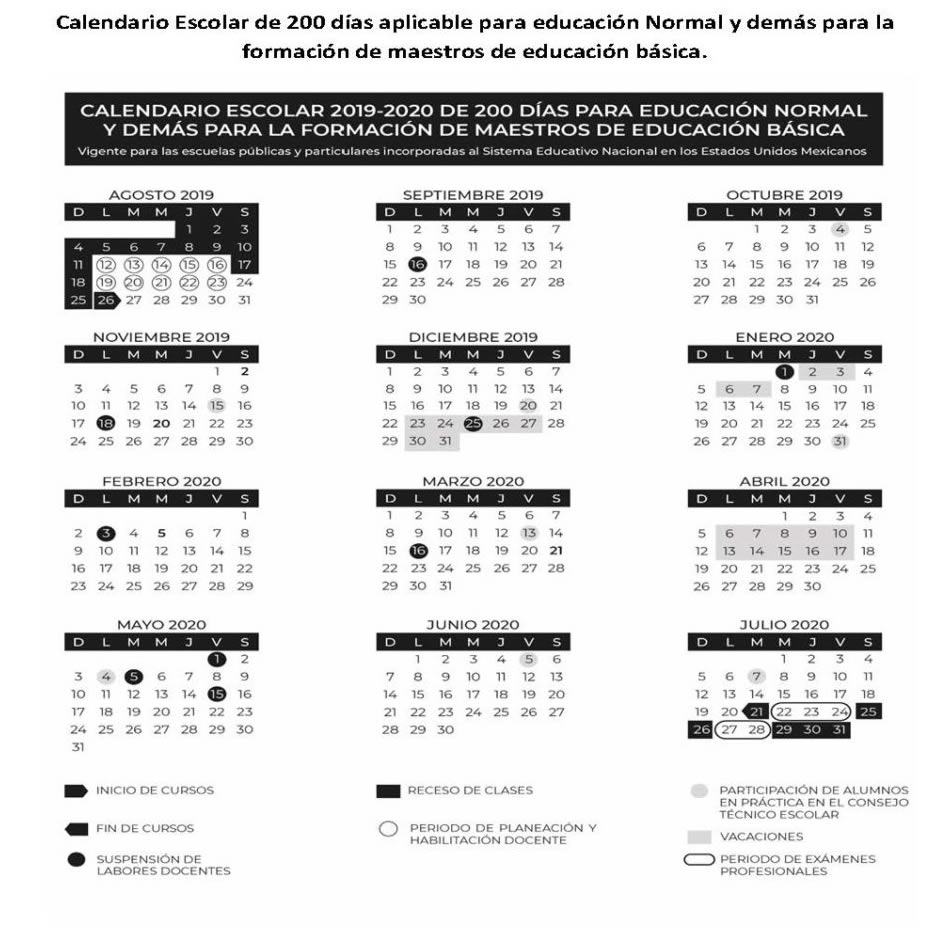 Febrero 2020 Calendario.Calendario Escolar Sep Ciclo Escolar 2019 2020 Mexico
